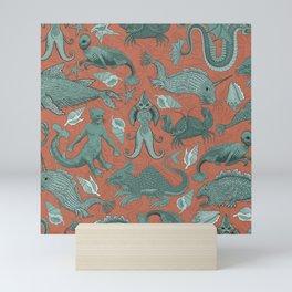 Deep Sea Cryptids on Red Mini Art Print
