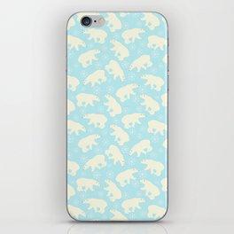 Polar bear pattern on wintry ice aqua background iPhone Skin