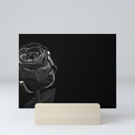 A Single Black Rose Mini Art Print