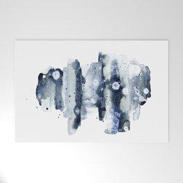 Indigo Abstract Watercolor No.1 Welcome Mat