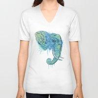 portrait V-neck T-shirts featuring Elephant Portrait by Rachel Caldwell