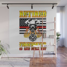 Retired Firefighter 65th Birthday Thin Red Line Flag Wall Mural