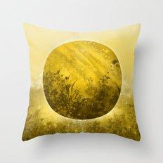 circle yellow landscape Throw Pillow