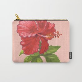 Pink Hibiscus Flower Carry-All Pouch