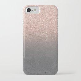 Rose gold glitter ombre grey cement concrete iPhone Case