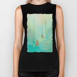 Hide and Seed (Cartoon Squirrels, Mint Green Snow Forest) Biker Tank