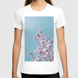 SPRING MAGNOLIA FLOWER TREE, pink on turquoise T-shirt
