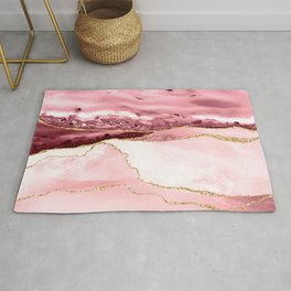 Pink And Gold Marble Waves Rug
