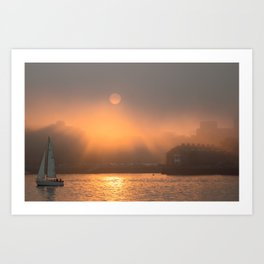 Foggy sunset in Boston Art Print