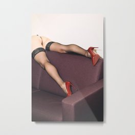 Legs on sofa wearing black stockings and red stiletto pumps Metal Print