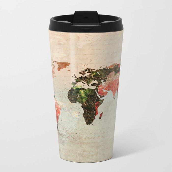 Vintage World Map Metal Travel Mug