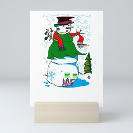 A Snowman (Snow Woman) in a Red Scarf Mini Art Print