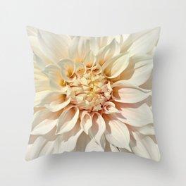 Dahlia white macro 043 Throw Pillow