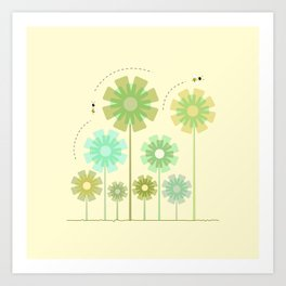 Blooming Flowers and Honey Bees Art Print