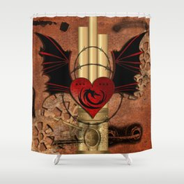 Heart with dragon and wings Shower Curtain