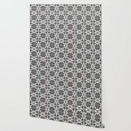 Portuguese Tiles Azulejos Black White Pattern Wallpaper