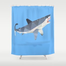 Low Poly Great White Shark Shower Curtain