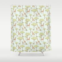 giraffes Shower Curtains featuring Giraffes by Emma Margaret Illustration
