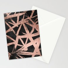 Handdrawn faux rose gold brushstrokes modern stripes triangles pattern Stationery Cards