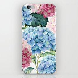 Pink Blue Hydrangea iPhone Skin