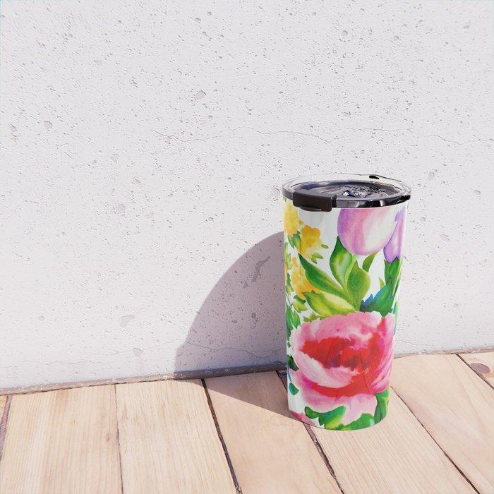 Watercolor Roses Travel Mug