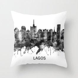 Lagos Nigeria Skyline BW Throw Pillow