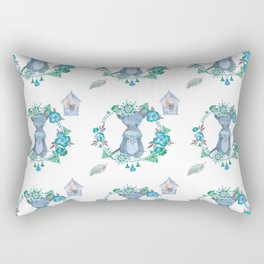 Lufkin Mouse Repeat Pattern Blue Illustration - Bagaceous Rectangular Pillow