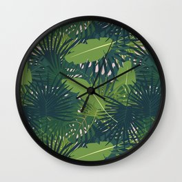 Abstract digital seamless pattern flat background with colorful palm leaves greenery Wall Clock