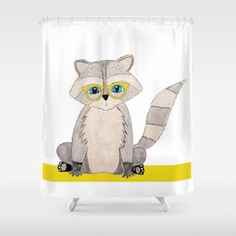 Racoon with glasses Shower Curtain