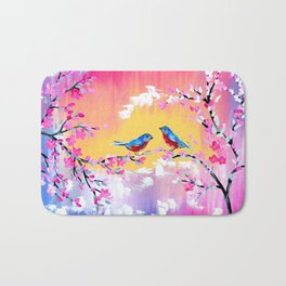 Sunset and Cherry Blossom Bath Mat