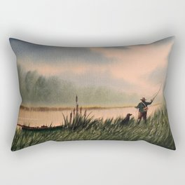 The Fly Fisherman With His Loyal Friend Rectangular Pillow