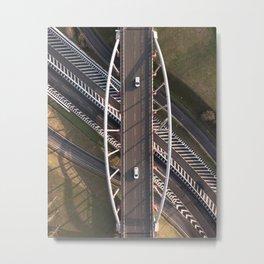 white cars crossing a white bridge Metal Print
