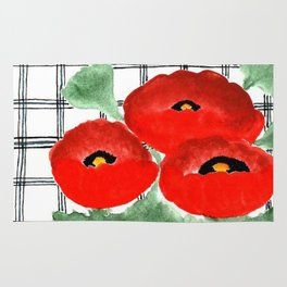 Poppies and Plaid Rug