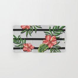 Hibiscus Flower Chevron Pattern Hand & Bath Towel