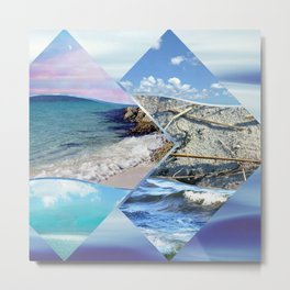 Sea, Sand and Sky Collage Metal Print