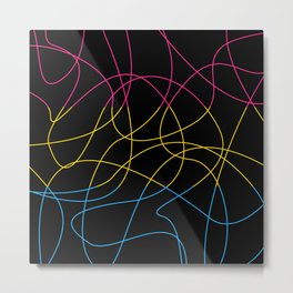 Abstract Threads – Pansexual Pride Flag Metal Print