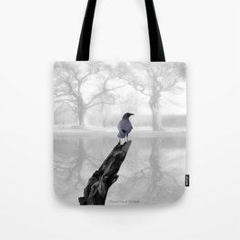 Crow On Misty Pond A114 Tote Bag