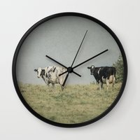 cows Wall Clocks featuring Moo Cows by Pure Nature Photos