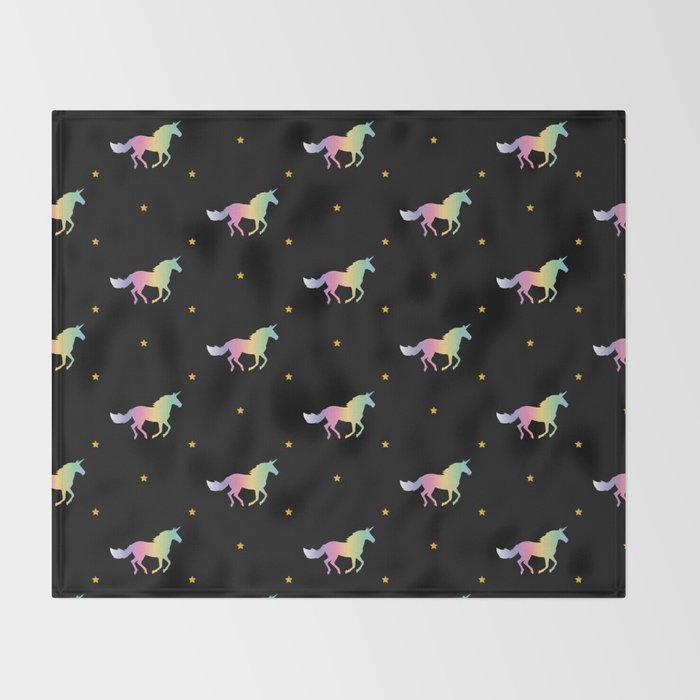 Rainbow Unicorns & Stars Throw Blanket