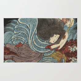 Utagawa Kunisada - Atsuta No En Uneme From The Series Twenty - Four Japanese Paragons Of Filial Piet Rug