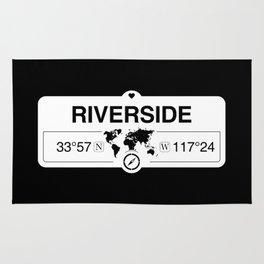 Riverside California Map GPS Coordinates Artwork with Compass Rug