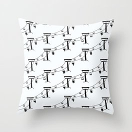Chair Lift for Skiers and Snowboarders Throw Pillow