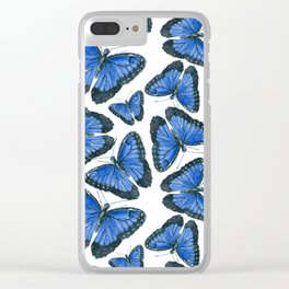 Blue morpho butterfly pattern design Clear iPhone Case