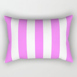 Fuchsia pink - solid color - white vertical lines pattern Rectangular Pillow