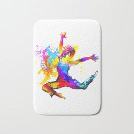 Hip hop dancer jumping Bath Mat