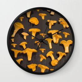 Chantterelles On A Dark Grey Background - Autumn Harvest - #Society6 #buyart Wall Clock
