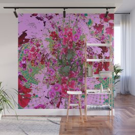 PINK HOLLYHOCK FLOWERS TEAL ABSTRACT GARDEN Wall Mural
