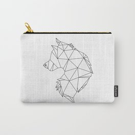 Geometric Wolf (Black on White) Carry-All Pouch