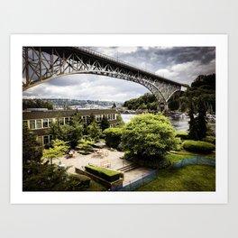 Seattle Fremont bridge - river view Art Print