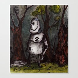 A robot lost in the woods Canvas Print